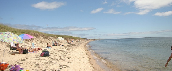 Relaxing on a beach on Cape Cod